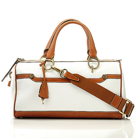 709-935 - PRIX DE DRESSAGE Pebbled Leather Double Handle Zip Top Satchel w/ Shoulder Strap