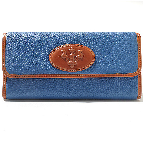 709-939 - PRIX DE DRESSAGE Leather Flap-Over Wallet w/ Zippered Coin Pocket