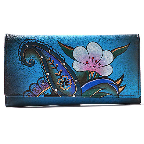 709-969 - Anuschka Hand-Painted Leather Multi Pocket Tri-Fold Wallet
