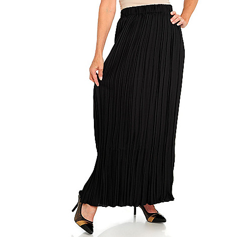 709-982 - Love, Carson by Carson Kressley Woven Crinkle Pleated Maxi Skirt