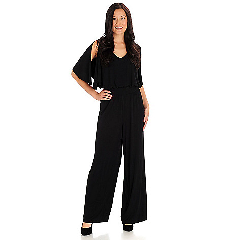 709-983 - Love, Carson by Carson Kressley Stretch Knit Slit Sleeve Wide Leg Jumpsuit
