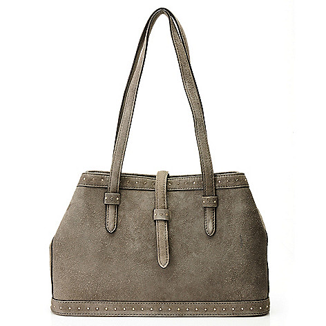 710-000 - Brooks Brothers® Suede Leather Double Handle Small Tote Bag