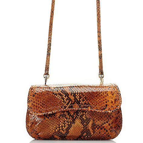 710-001 - Brooks Brothers® Leather Reptile Embossed Cross Body Clutch