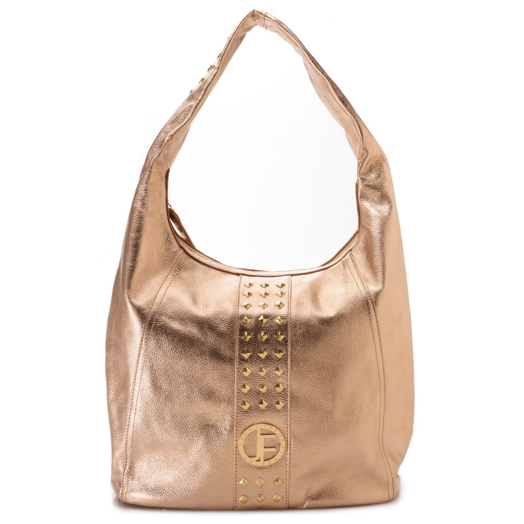710-010 - Jack French London Pebbled Leather Studded Zip Top Hobo Bag