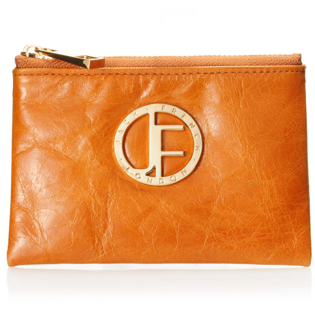 710-021 - Jack French London Leather Zip Top Logo Coin Purse