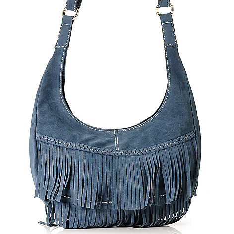 710-023 - Chateau Fringed Hobo Bag w/ Adjustable Shoulder Strap