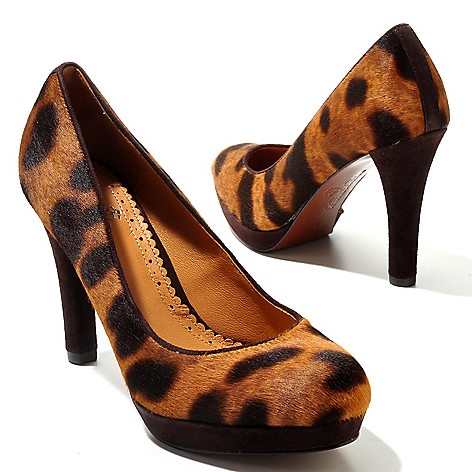 710-037 - Brooks Brothers® Leather & Calf Hair Leopard Print Platform Pumps