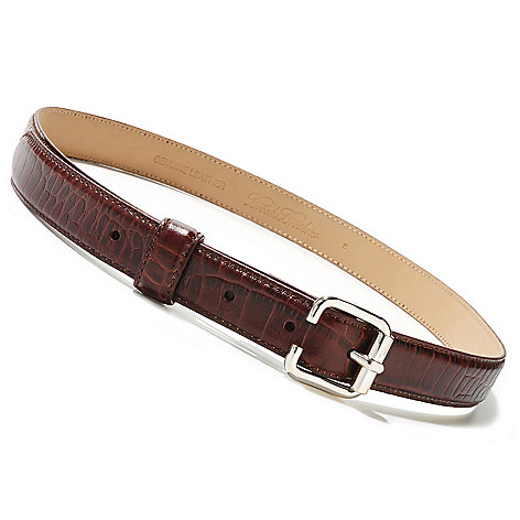 710-041 - Brooks Brothers® Reptile Embossed Leather Square Buckle Belt