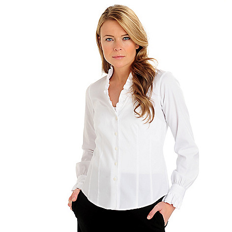 710-054 - Brooks Brothers® Stretch Cotton Double Ruffled Collar & Cuff V-Neck Blouse