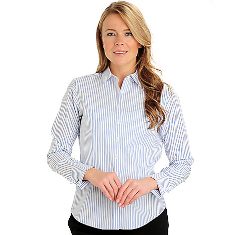 710-059 - Brooks Brothers® French Cuffed Candy Stripe Fitted Blouse