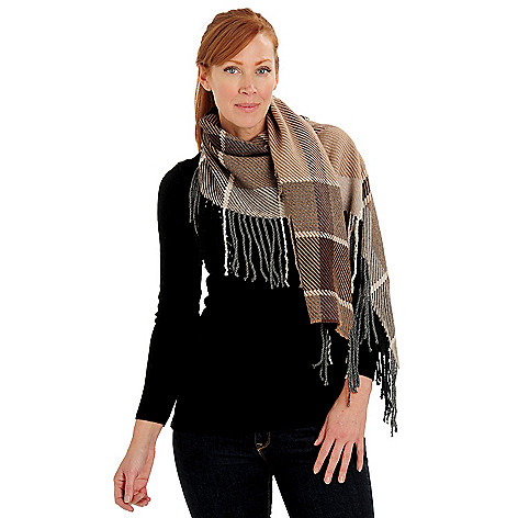 710-066 - Brooks Brothers® Woven Plaid Fringe Detailed Caterpillar Scarf