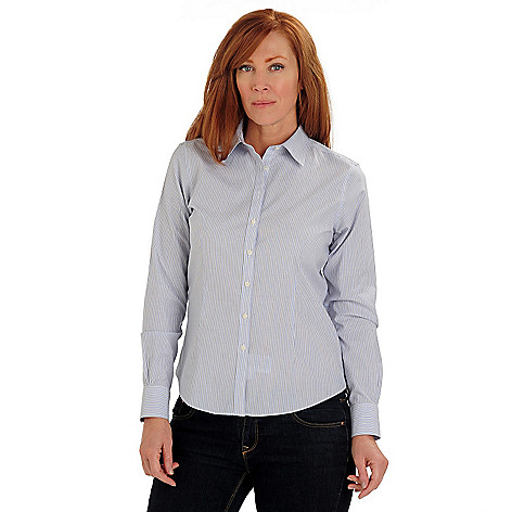 710-073 - Brooks Brothers® Stretch Cotton Multi Dash Single Stripe Fitted Blouse