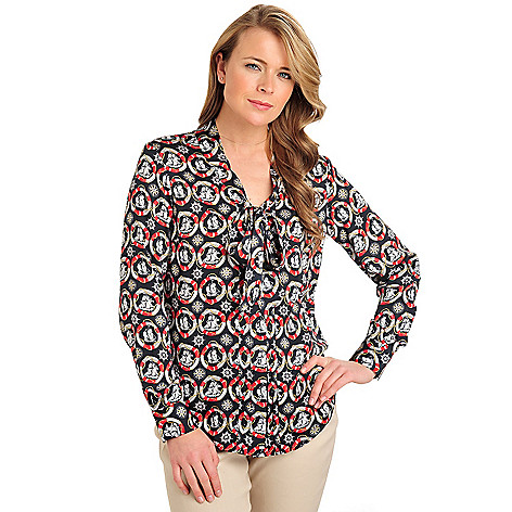 710-077 - Brooks Brothers® Silk Button Front Tie Neck Blouse