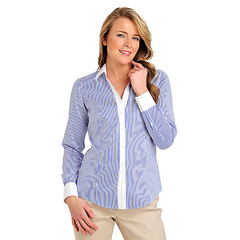 710-078 - Brooks Brothers® Stretch Cotton Bengal Stripe Pick Stitch Blouse
