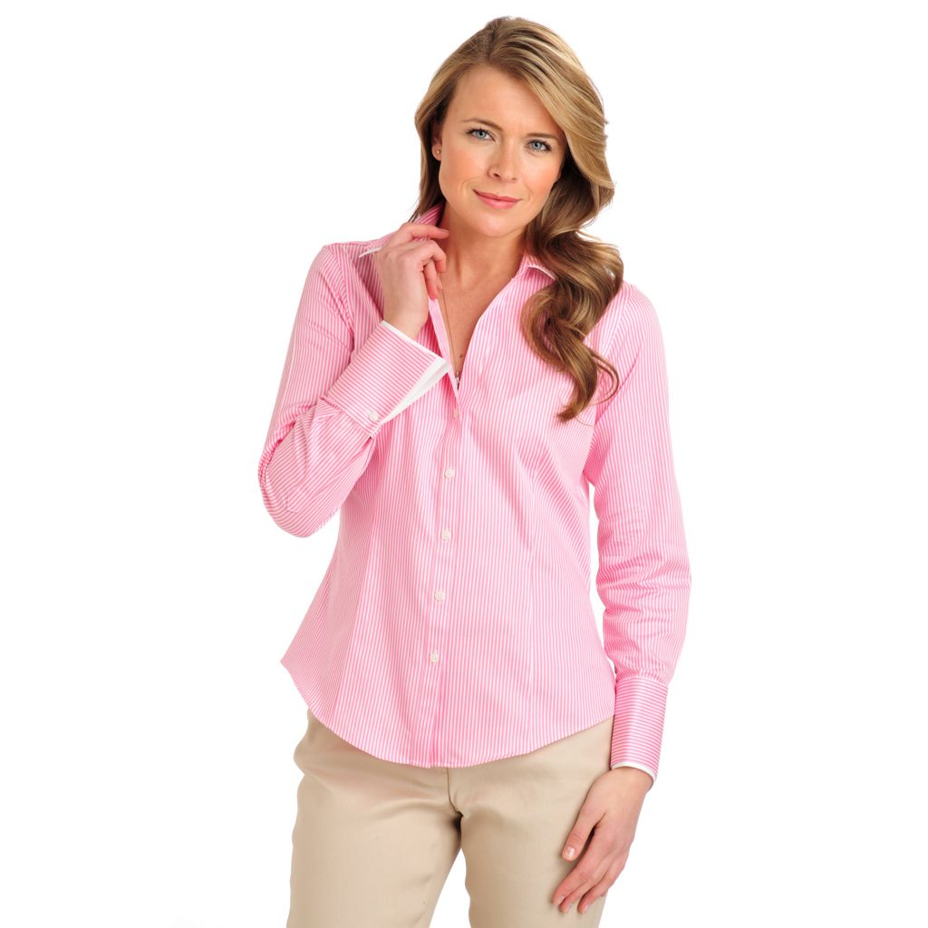 710-079 - Brooks Brothers® Stretch Cotton Button Down French Cuffed Striped Blouse