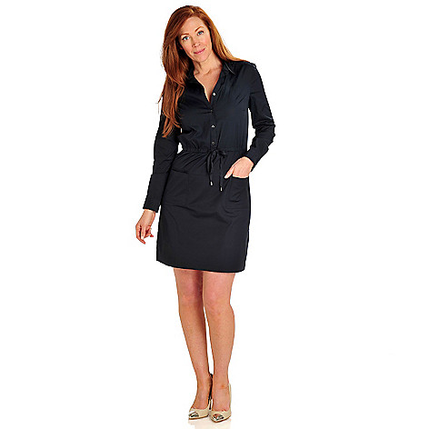 710-081 - Brooks Brothers® Stretch Cotton Long Sleeved Button-down Dress
