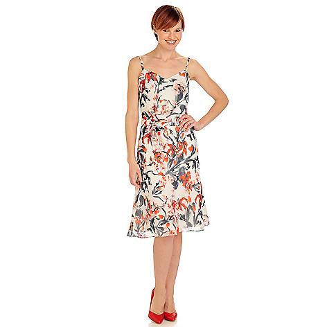 710-082 - Brooks Brothers® 100% Silk Belted Spaghetti Strap Floral Print Dress