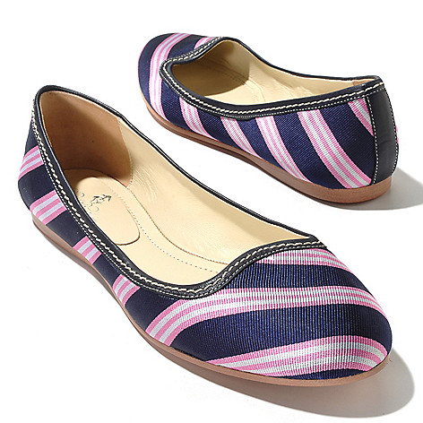 710-110 - Brooks Brothers® Silk Diagonal Stripe Ballet Flats