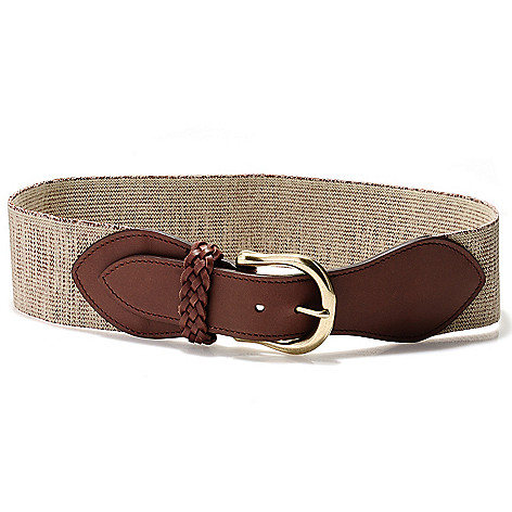 710-126 - Brooks Brothers® Khaki & Brown Braid Detailed Wide Stretch Belt