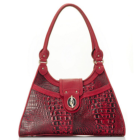 710-129 - Madi Claire ''Heather'' Croco Embossed Leather Multi Compartment Tote Bag