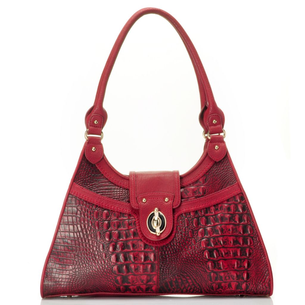 710-129 - Madi Claire Crocodile Embossed Leather Multi Compartment Tote Bag