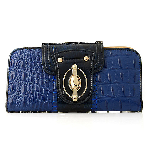 710-130 - Madi Claire Croco Embossed ''Heather'' Swing Lock Wallet