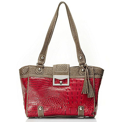 710-131 - Madi Claire ''Sarah'' Crocodile Embossed Leather Tote Bag