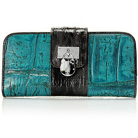 710-140 - Madi Claire Croco Embossed Leather Jumbo Wallet