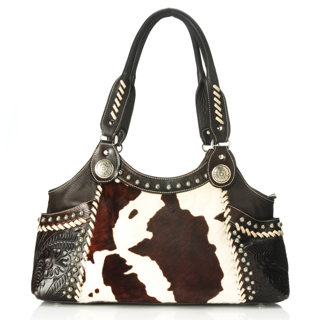 710-260 - American West Hand-Tooled Leather Studded Zip Top Large Tote Bag