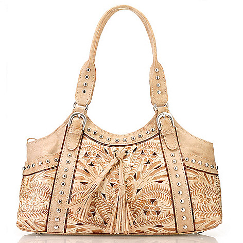 710-265 - American West Hand-Tooled Leather Large Zip Top Tote Bag