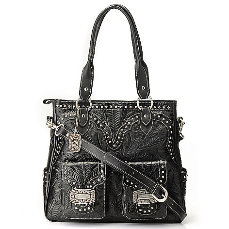 710-273 - American West Hand-Tooled Leather Studded Tote Bag