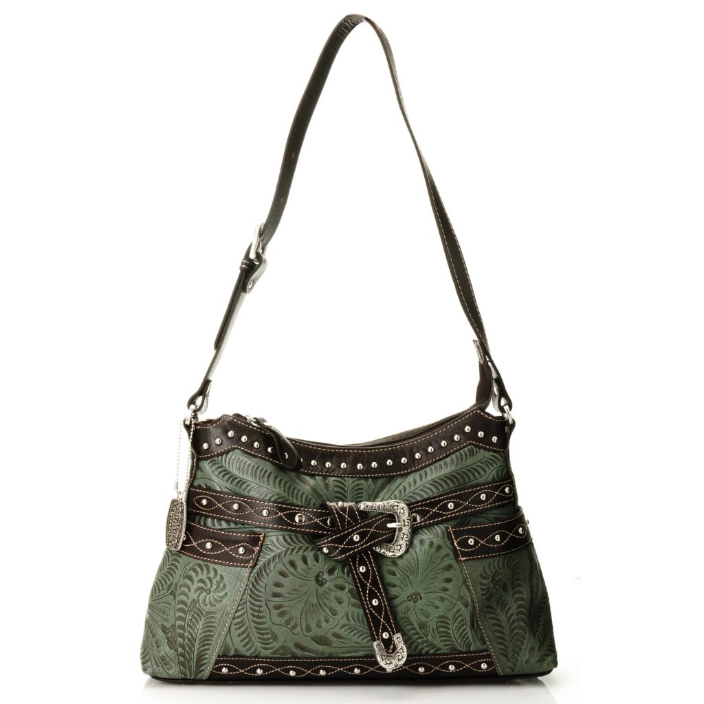 710-278 - American West Hand-Tooled Leather Belted Shoulder Bag