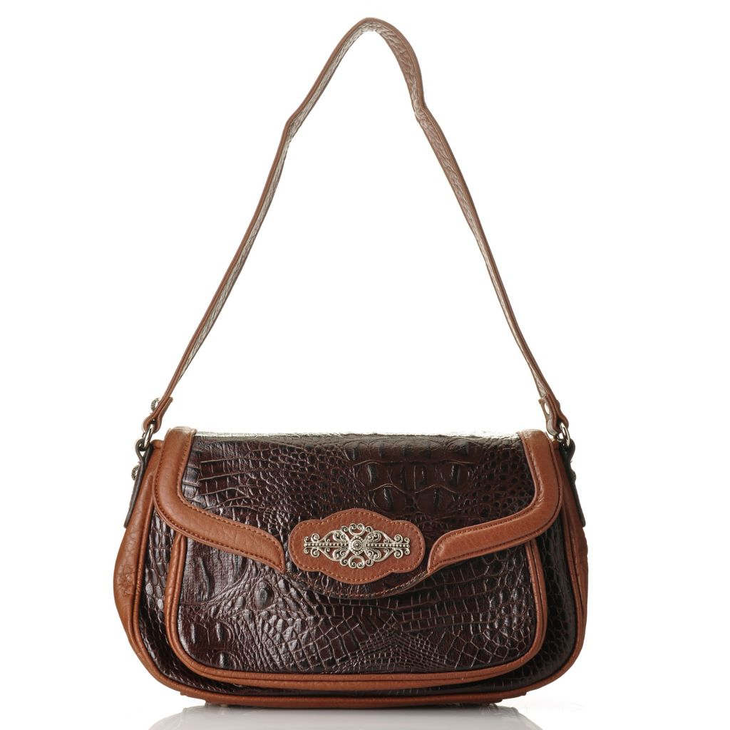 710-293 - Madi Claire Crocodile Embossed Leather Flap Over Shoulder Bag