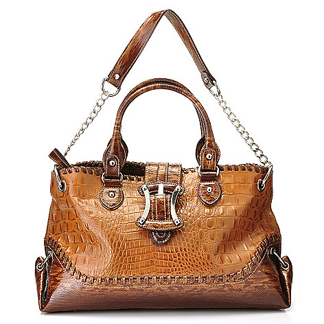 710-307 - Madi Claire Crocodile Embossed Leather ''Kendy'' Zip Top Satchel