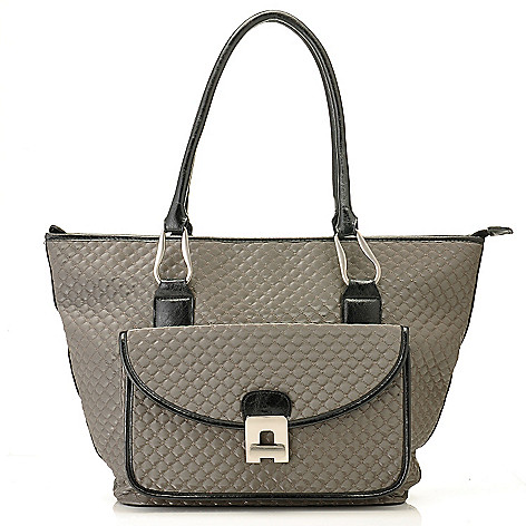 710-323 - Sondra Roberts Turnlock Front Pocket Quilted Zip Top Tote Bag