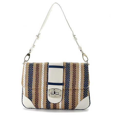 710-326 - Sondra Roberts Woven Turnlock Shoulder Bag