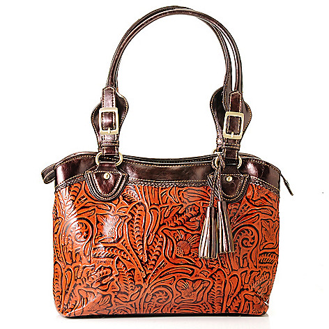 710-422 - Madi Claire Tooled Leather ''Abigail'' Zip Top Tote Bag