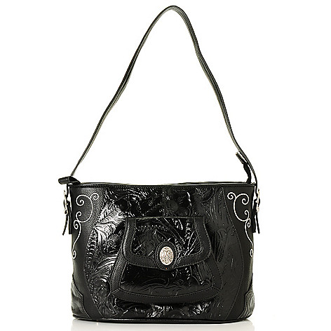 710-427 - Madi Claire Tooled Leather Embroidered Shoulder Bag