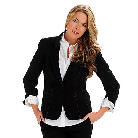 710-570 - WD.NY One-Button Tuxedo Piped Fully Lined Blazer