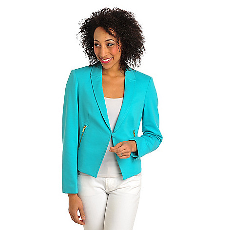 710-572 - WD.NY Stretch Ponte Fully Lined Zippered Pocket Blazer