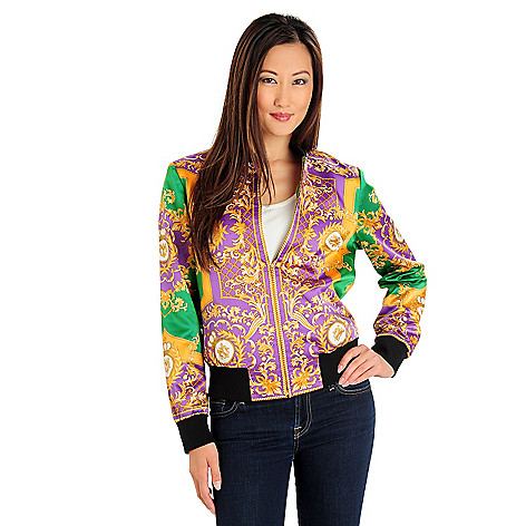 710-573 - WD.NY Lightweight Satin Status Printed Fully Lined Bomber Jacket