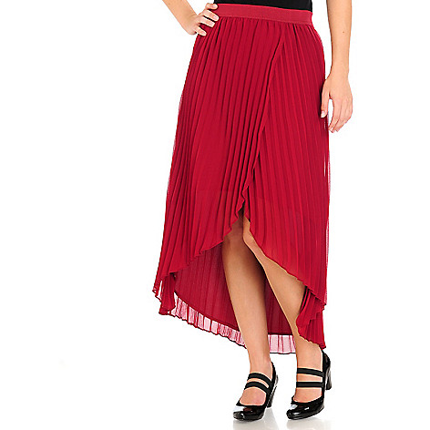 710-585 - WD.NY Chiffon Accordion Pleated Fully Lined Hi-Lo Skirt