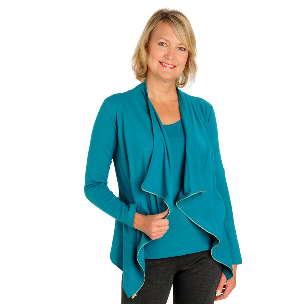 710-592 - Kate & Mallory Stretch Cotton Open Cascade Front Cardigan & Tank Set