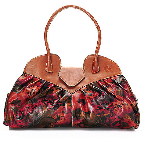 710-599 - Patricia Nash ''Lione'' Leather Double Handle Pleated Satchel