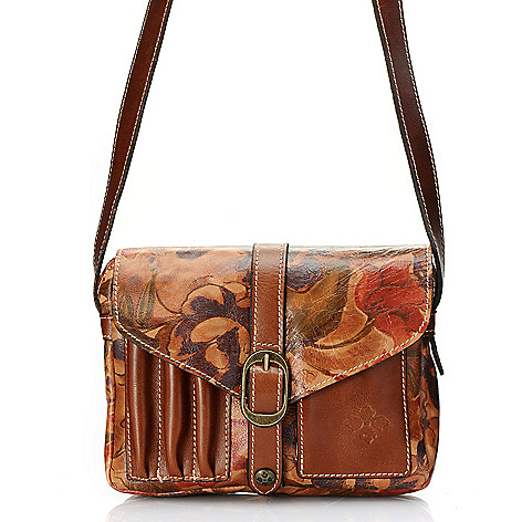 710-601 - Patricia Nash Leather Zip Top Flap-over Cross Body Bag