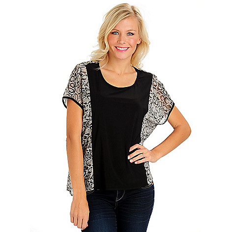 710-659 - Kate & Mallory Printed Chiffon Solid Jersey Short Sleeved Scoop Neck Top