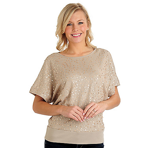 710-724 - Glitterscape Stretch Knit Sequin Front Dolman Sleeved Top
