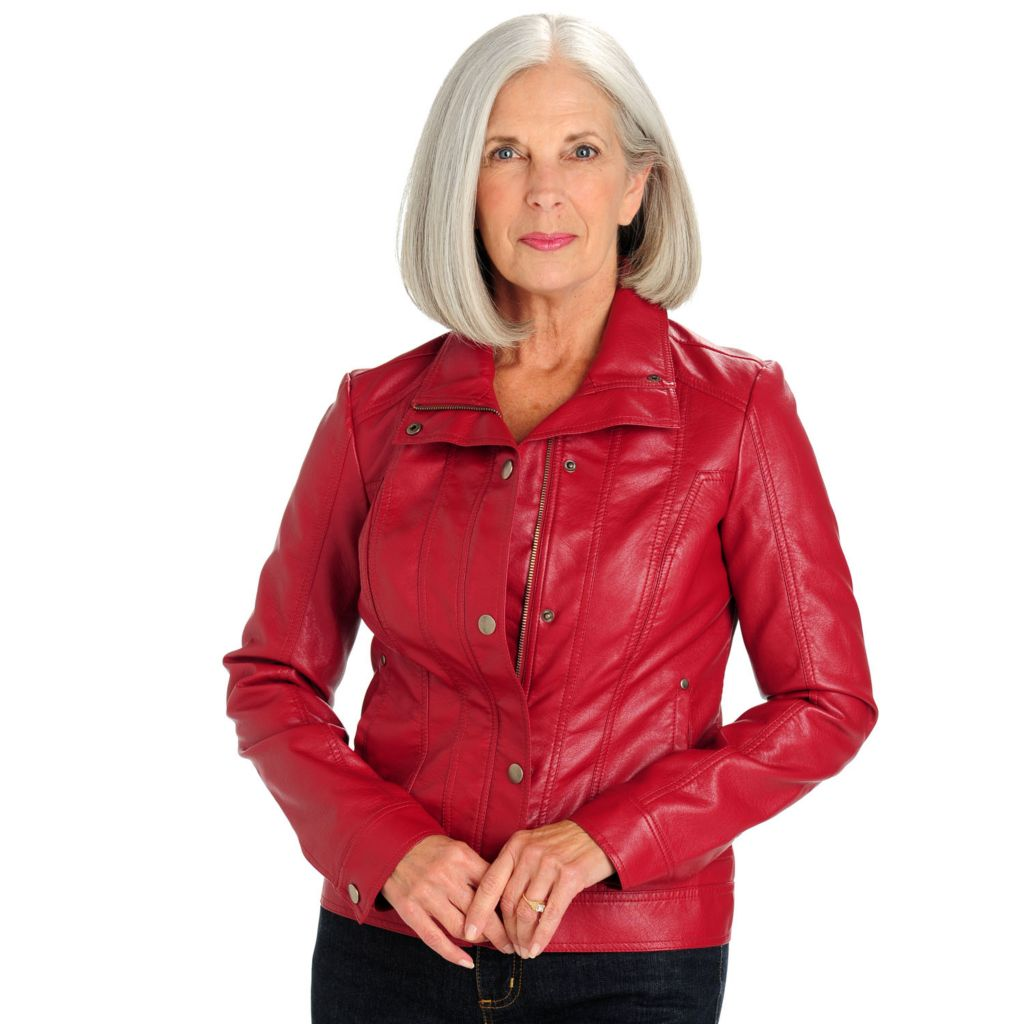 710-737 - Baccini Zip Front Faux Leather Jacket