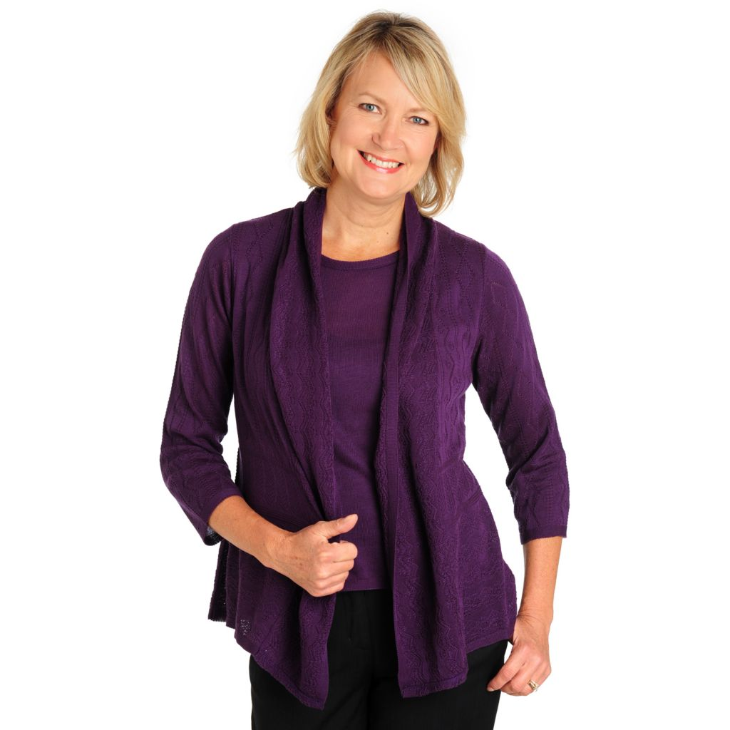 710-756 - Geneology Pointelle Knit Open Front Cardigan & Tank Sweater Set