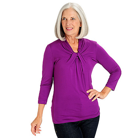710-765 - Kate & Mallory Stretch Knit 3/4 Sleeved Twist Neck Top